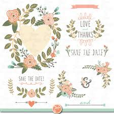 wedding flowers clipart vintage flower clipart save the date pencil and in color vintage
