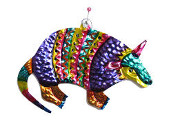 mexican tin armadillo ornament handmade in oaxaca