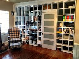 Bookcase With Door by White Lacquer Wooden Wall Partition Bookcase With White Door Using