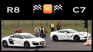 drag race audi r8 vs chevrolet corvette c7