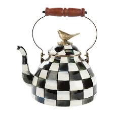 buy mackenzie childs courtly check enamel tea kettle with bird amara