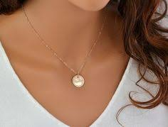 White Gold Initial Disc Necklace Gold Initial Necklace Personalized Disc Necklace Three Initial