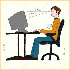 Computer Desk Posture Correct Sitting Posture Correct Position Of Persons At The
