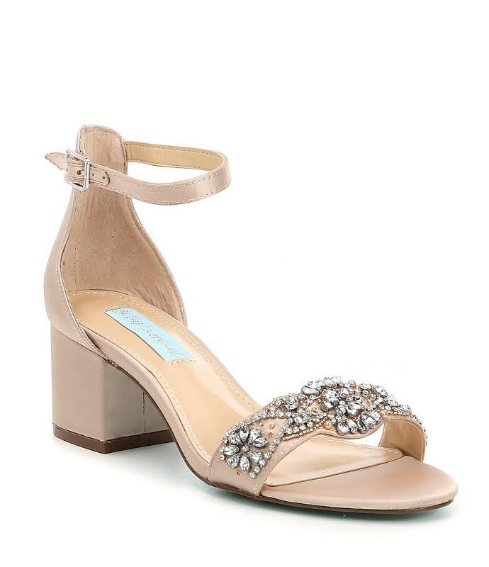 Betsey Johnson Mel Champagne Ankle Strap Heels