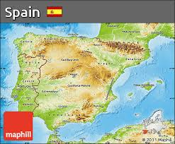 physical map of spain free physical map of spain
