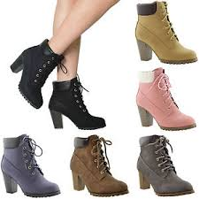 s rugged boots s ankle boots lace up booties chunky stacked high heel