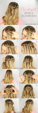 braided hairstyle instructions step by step waterfall braid and flower bun