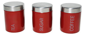 furniture simsbury 3 piece kitchen canister sets in red for