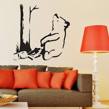 banksy wall stickers decals fast free uk delivery tagged banksy wall sticker pooh in a bear trap vinyl mural decal v c designs ltd