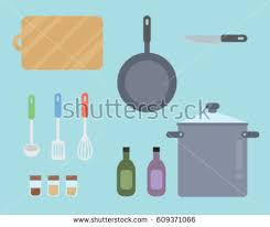 kitchen collection flat design graphics elements stock vector