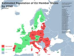 Map Of European Countries Estimated Population Of Eu Member States By 2050 Europe