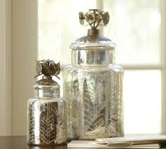 glass canisters kitchen etched antique mercury glass canister pottery barn
