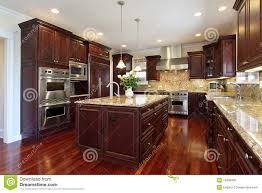 Oakland Kitchen Cabinets Kitchen With Cherry Wood Cabinetry Royalty Free Stock Photo