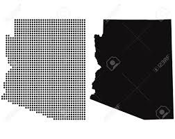 State Map Of Arizona by Dotted And Silhouette State Of Arizona Map Royalty Free Cliparts