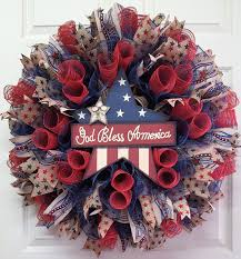americana burlap mesh wreath patriotic wreath memorial day wreath
