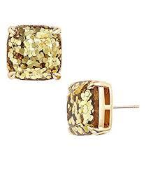 glitter stud earrings kate spade new york small square gold glitter stud