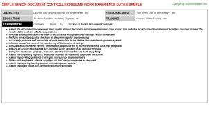 assistant controller resume samples senior document controller resume sample