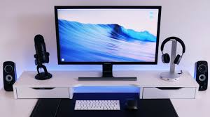 minimalist computer speakers minimalist black and white desk setup tour isetup setup deluxe