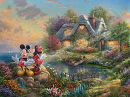 mickey minnie u2013 sweetheart cove thomas kinkade company