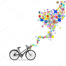 Decorative Flowers by Bike With A Basket In Decorative Flowers U2014 Stock Vector