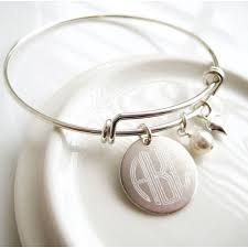 monogram bangle bracelet jc jewelry design three letter monogram adjustable bangle