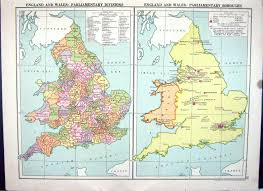 Birmingham England Map by 26 Print Cassell Map 1920 England Wales Parliamentary Regions Isle