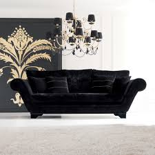 Modern Black Sofas Luxurious Modern Black Velvet Three Seater Sofa Juliettes Interiors