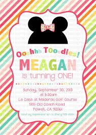 minnie mouse birthday invitation disney bow tique stripe mickey