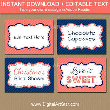 coral navy candy buffet labels with editable text digital art star
