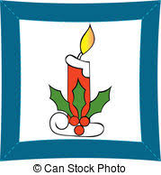 clip art vector of christmas candle on the night of christmas a