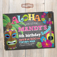 luau birthday invitation hawaiian party chalkboard diy