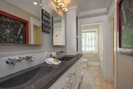 White And Beige Bathrooms Aesthetically Pleasing Trough Bathroom Sink With Two Faucets