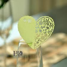 12pcs lot green ivory hollow heart laser cut wedding invitation