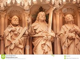 christian statues disciple statues monastery of montserrat spain stock photo