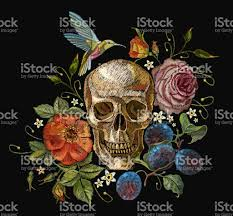 embroidery skull and roses grapes humming bird and flowers dia de