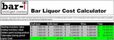 Bar Liquor Inventory Spreadsheet Liquor Cost Calculator