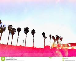 california palm trees los angeles pink graphic watercolor