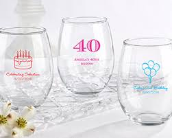 wine glass party favor personalized 15 oz stemless wine glass birthday party favors by