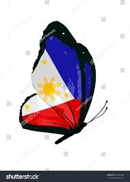 Flag Philippines Picture Philippines Flag Butterfly Vector Stock Vector 266962586