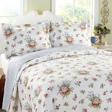 bedroom white floral laura ashley bedding with white headboard