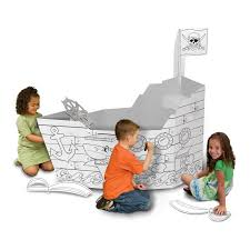 my very own castle and pirate ship cardboard playhouse 2 pack