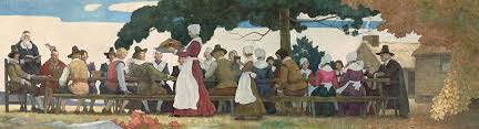 thanksgiving banquet painting by newell convers wyeth