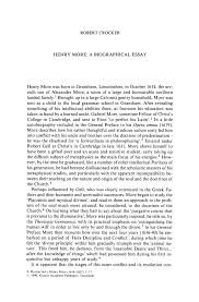 Examples Of Biography Essays Henry More A Biographical Essay Springer