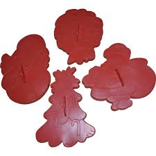 1978 wilton set of 4 large christmas cookie cutters angel santa
