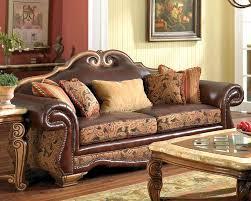 Leather And Fabric Living Room Sets Aico Leather Fabric High Back Sofa Tuscano Ai 34915 Brick 26