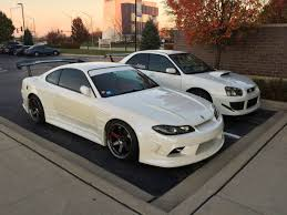 nissan silvia s15 nissan silvia s15 and a subaru wrx sti looking real clean in white