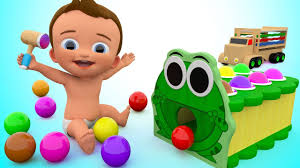 learn colors for children with baby wooden frog hammer toy set