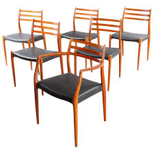 Teak Dining Room Chairs Six Danish Teak Dining Chairs Niels O Moller Model 78 62 For Sale
