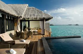 water bungalow view out over lagoon maldives hd desktop wallpaper
