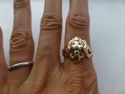 golden jubilee diamond size comparison antique 14k yellow rose gold lion u0027s head ring men u0027s ruby eyes